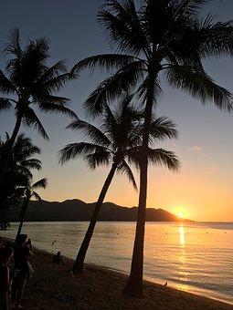Sunset, Tropical, Sea, Beach, Ocean, Travel, Vacation