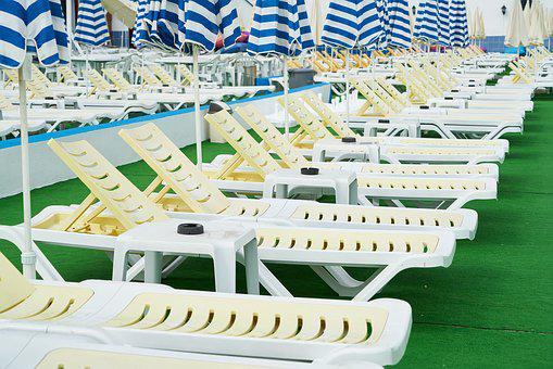 Sunbeds, Pool, Yellow, Blue, Rich, Relax, Luxury, Hotel