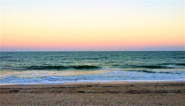 Evening Waves, Beach Sunset, Atlantic Ocean, Sea, Sand