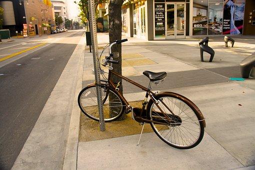 Bicycle, Town, Litletokyo, Los Angeles, Usa, America