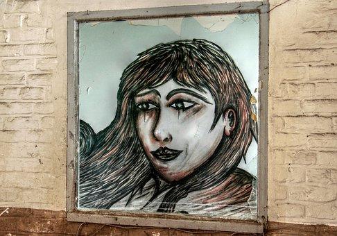 Lost Place, Graffiti, Window, Woman, Broken Window