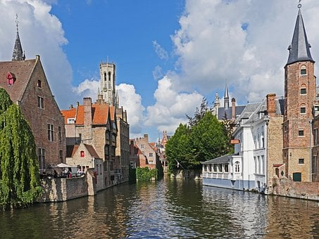 Canal In Bruges, Cityscape, Medieval, City Tower