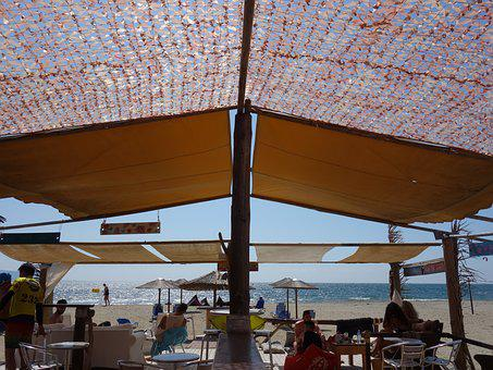 Canteen, Greece, Beach, Sea, Shadow, Summer, Afternoon