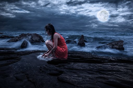 Woman, Beauty, Rock, Sea, Clouds, Full Moon, Night