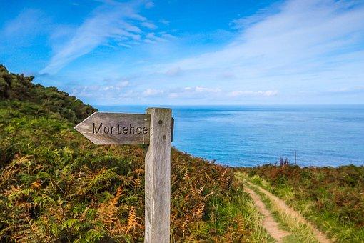 Coast, Directional Board, Path, Ocean, England