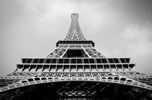 France, Paris, Eiffel Tower, Black And White