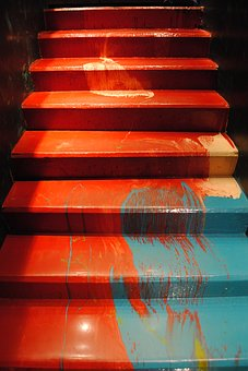 Stage, Ladder, Paint, Up, Down, Lifting, Fall, Red