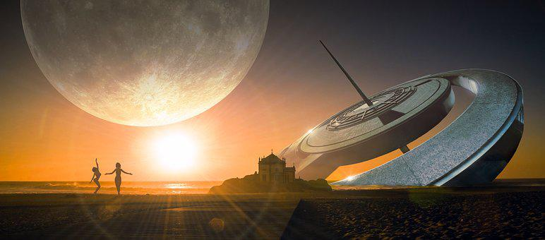 Fantasy, Landscape, Sundial, Moon, Building, Huge, Sky