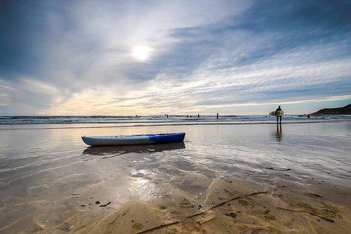Beach, Low Tide, Water Sports, Ocean, England