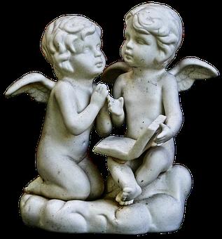 Figure, Angel, Putten, Sitting, Ceramic, Sculpture