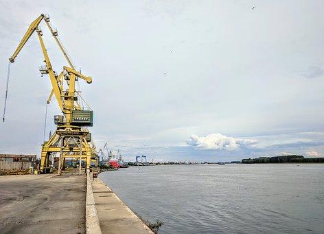 Crane, Danube, Galati, Romania, Port, River, Pier