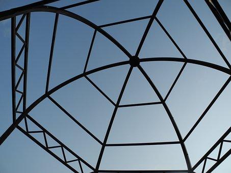 Kiosk, Structure, Wrought Iron, Iron, Metal, Sky