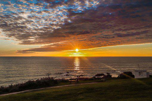Sunset, Ocean, Clouds, Coast, England