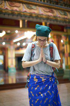 Tourist, Tourism, Asian, Women's, Young, Prayer