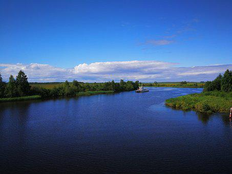 Russia, Canal, Boat, Sky, Water, River