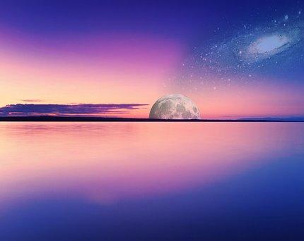 Ocean, Galaxy, Space, Sky, Blue, Night, Moon