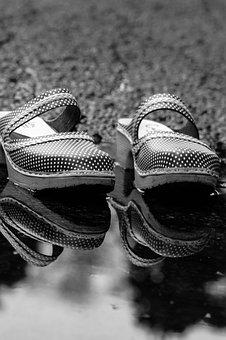 Clogs, Shoes, Footwear, Pair, Puddle, Reflection
