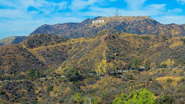 Usa, California, Sign, Sky, Landscape, View, Clouds