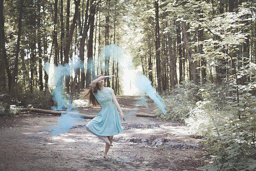 Holi, Girl In Dress, Blue Dress, Colorful Powder