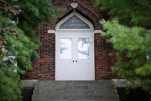 Church, Doors, Brick, Old, Trees, Stairs, Stained Glass