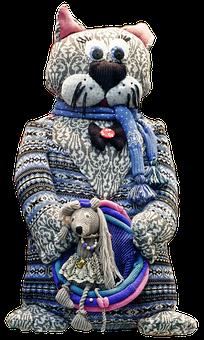 Sculpture, Figure, Cat, Fabric Cat, Fabric, Knitwear