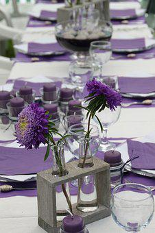 Flower, Flowers, Table, Decoration, Violet, Yellow