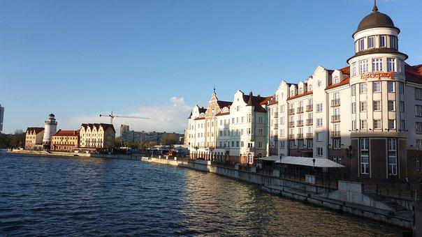 Kaliningrad, River, City, Russia, Beautiful View