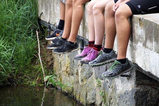 Boots, Sneakers, Feet, Summer, Recreation, Rest