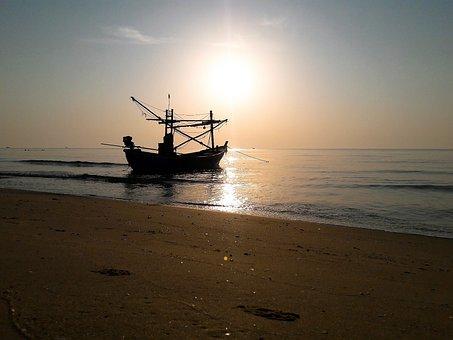 Ship, Pranburi, Hua Hin, Thailand, Morning, Sun, Boat