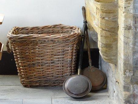 Frying Pan, Basket, Antique, Fireplace