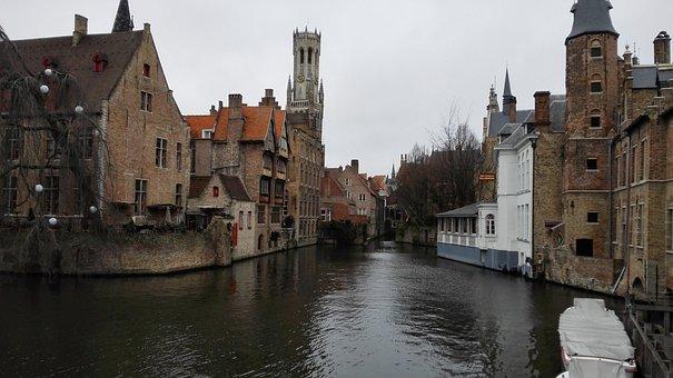 Bruges, City, Channel, Architecture, Belgium, River