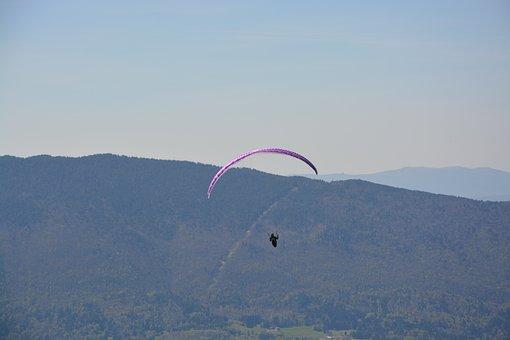 Paragliding, Free Flight, Mountain, Blue Sky