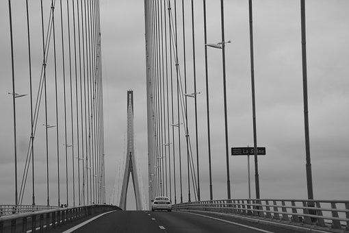 Bridge Normandy, Photo Black White, Pillar Metal