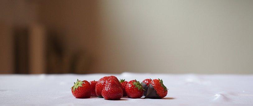 Strawberry, Chocolate, Dessert, Fruit, Fruits