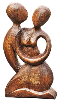 Pair, Lovers, Figure, Holzfigur, Carved, Art, Modern