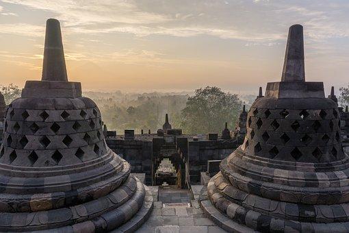 Indonesia, Temple, Borodundur, Sunrise, Landmark
