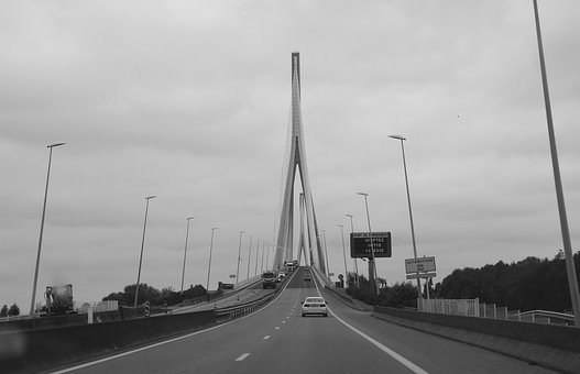 Bridge Normandy, Photo Black White, Road, Pillar, Sky