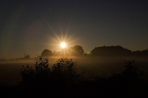 Fog, Sunrise, Sun, Atmosphere, Morgenstimmung