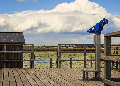Spring Lake, Bad Buchau, Boardwalk, Telescope, View