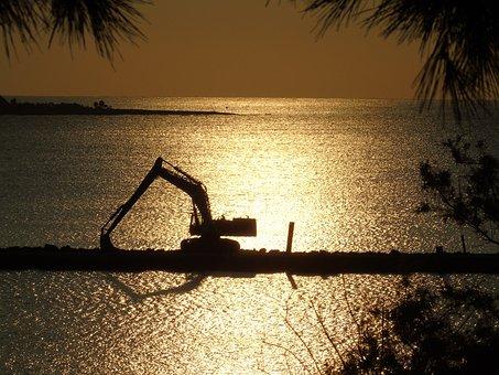 Crane, Lifter, Shipyard, Sea, Work, Building