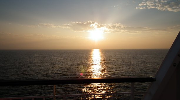 Sunrise, Pacific Ferry, On Board, Dawn, Sea, Sky, It