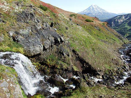 Waterfall, Volcano, Creek, Mountains, Valley, Height