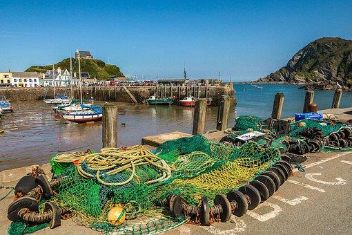 Port, Fishing Nets, Pier, Ocean, England