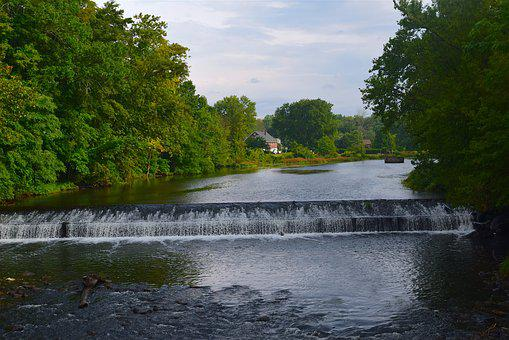 River, Waterfall, Trees, Sky, Clouds, Park, Landscape