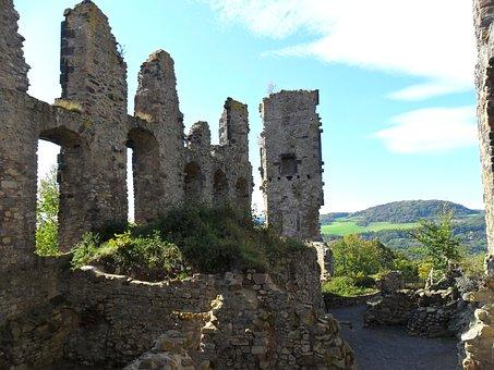 Olbrück Castle, Ruin, Brohltal, Spring, Sachsen, Visit