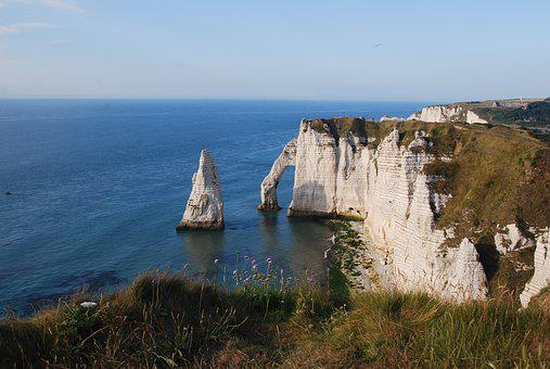 Cliff, Etretat, Sea, Landscape, Normandy, Limestone