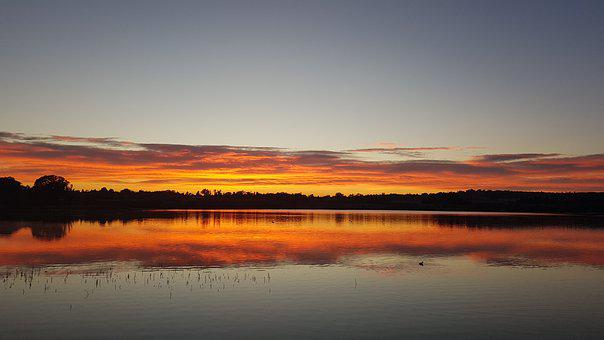 Sun Set, Dam, Water