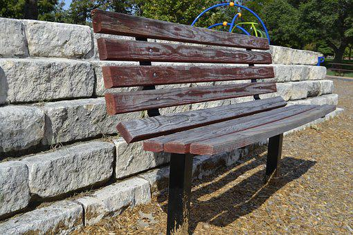 Park Bench, Brick Wall, Clean, Gravel, Peaceful