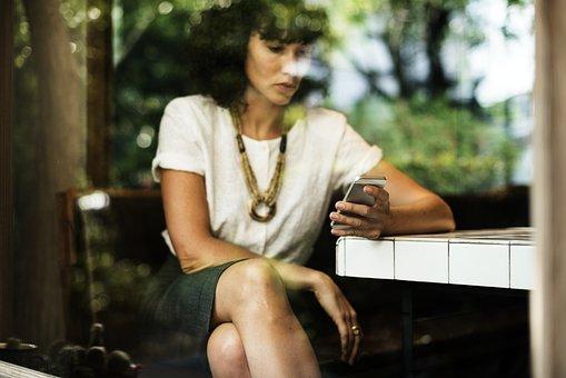 Coffee Shop, Online, Break, Telecommunication, Woman