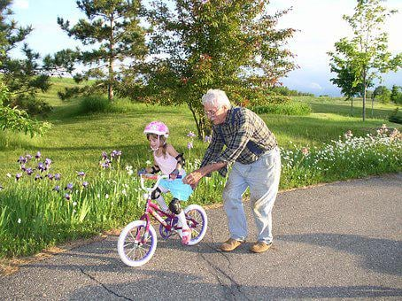 Grandparents, Bicycle, Girl, Learning, Ride, Summer